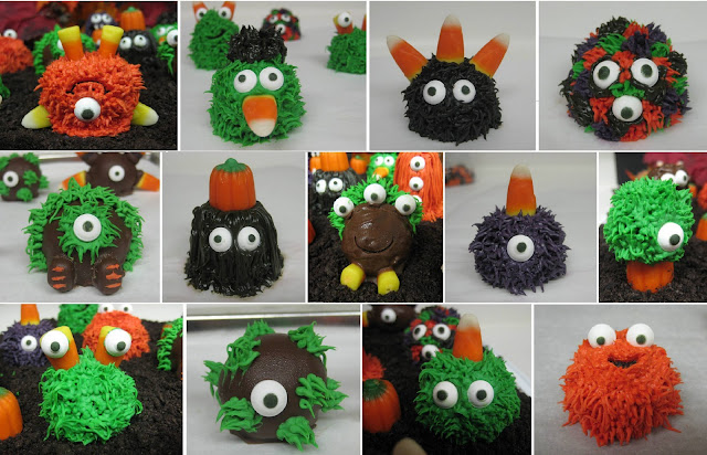 Halloween Little Monster Cake Balls - Individual Close-Up View Collage 1