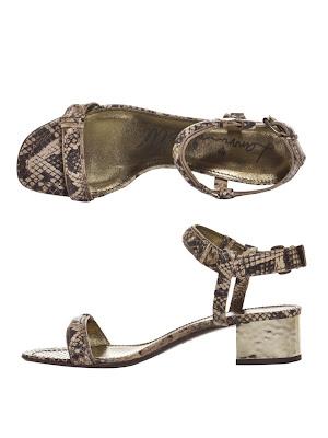Lanvin snake block heel sandals