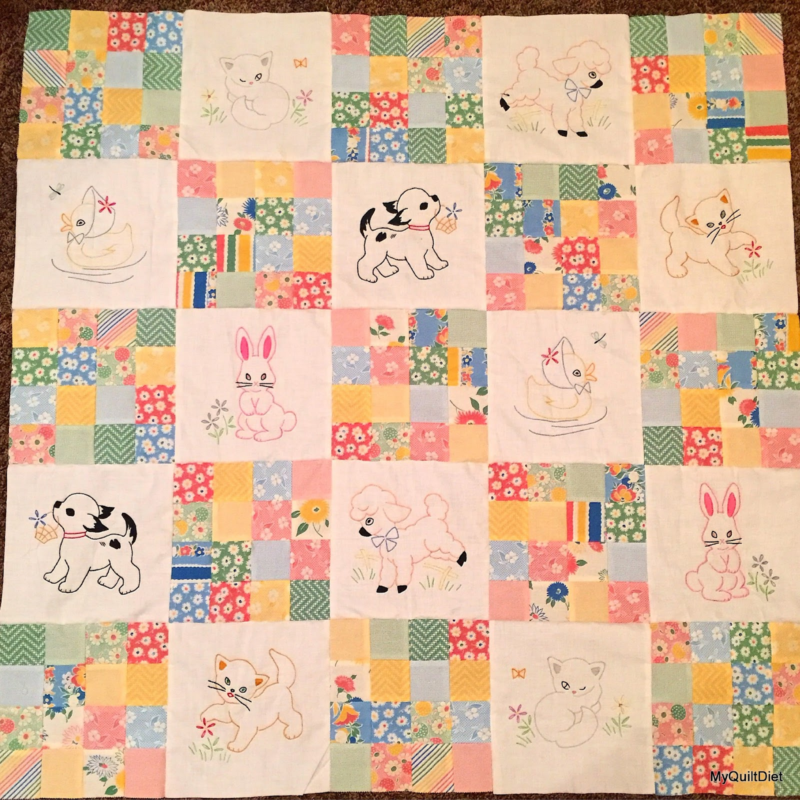 My quilt diet eva s vintage embroidery