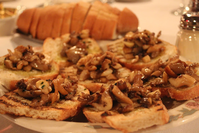 Mushroom bruschetta at Lucia Ristorante, Boston, Mass.
