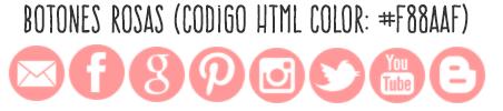 Descargar botones redes sociales gratis rosa