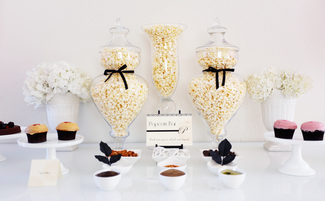 Popcorn Bar ideas for an Oscars/Academy Awards viewing party; use apothecary jars