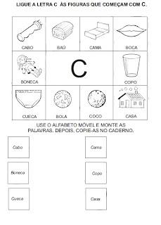 Atividades para alfabetização - Ligue a figura na letra inicial 2.