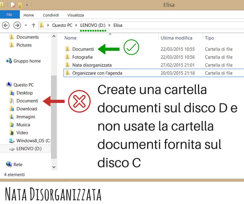 non usare la cartella documenti su C