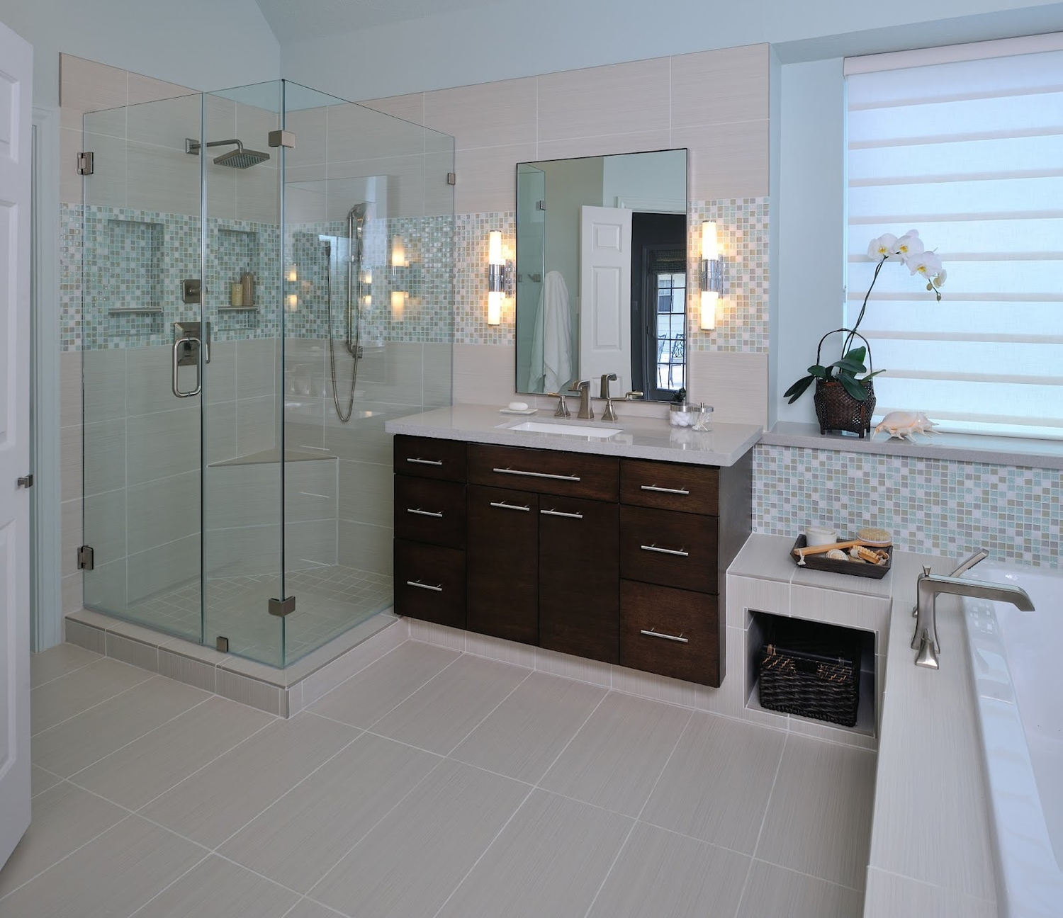 The granite gurus 8 beautiful master bathrooms for Tile master bathroom