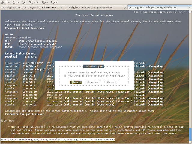 baixando o kernel pelo terminal