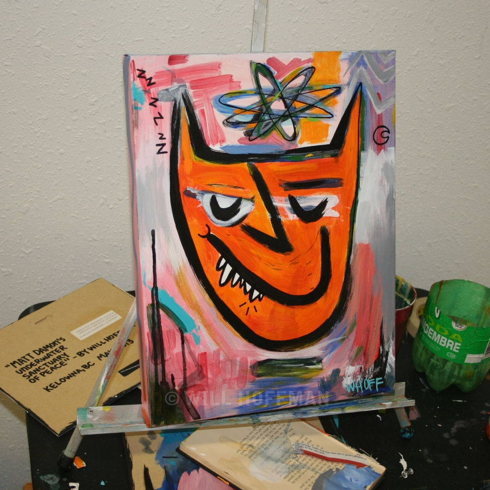 Abstract Wolf Painting by Will Hoffman in the studio