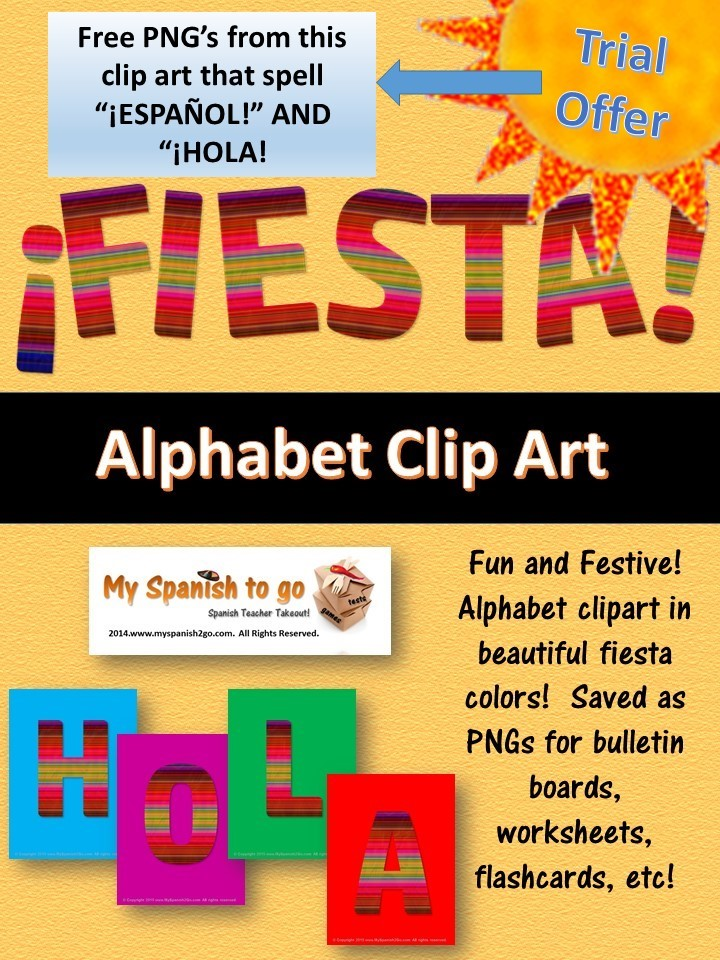 try out my fiesta alphabet clip art this is a free trial of the letters that spell espaol and hola