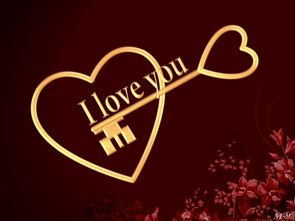Wallpaper collection Romantic Love couple kissing: Wallpaper I Love You