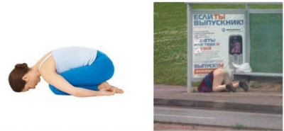 Yoga Positions Vs Liquor Positions Yoga+balasana