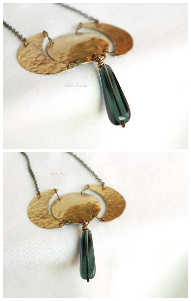 Collana con fasi lunari in ottone by PetiteFraise, handmade, fatto a mano, gioielli bohemian ed etnici