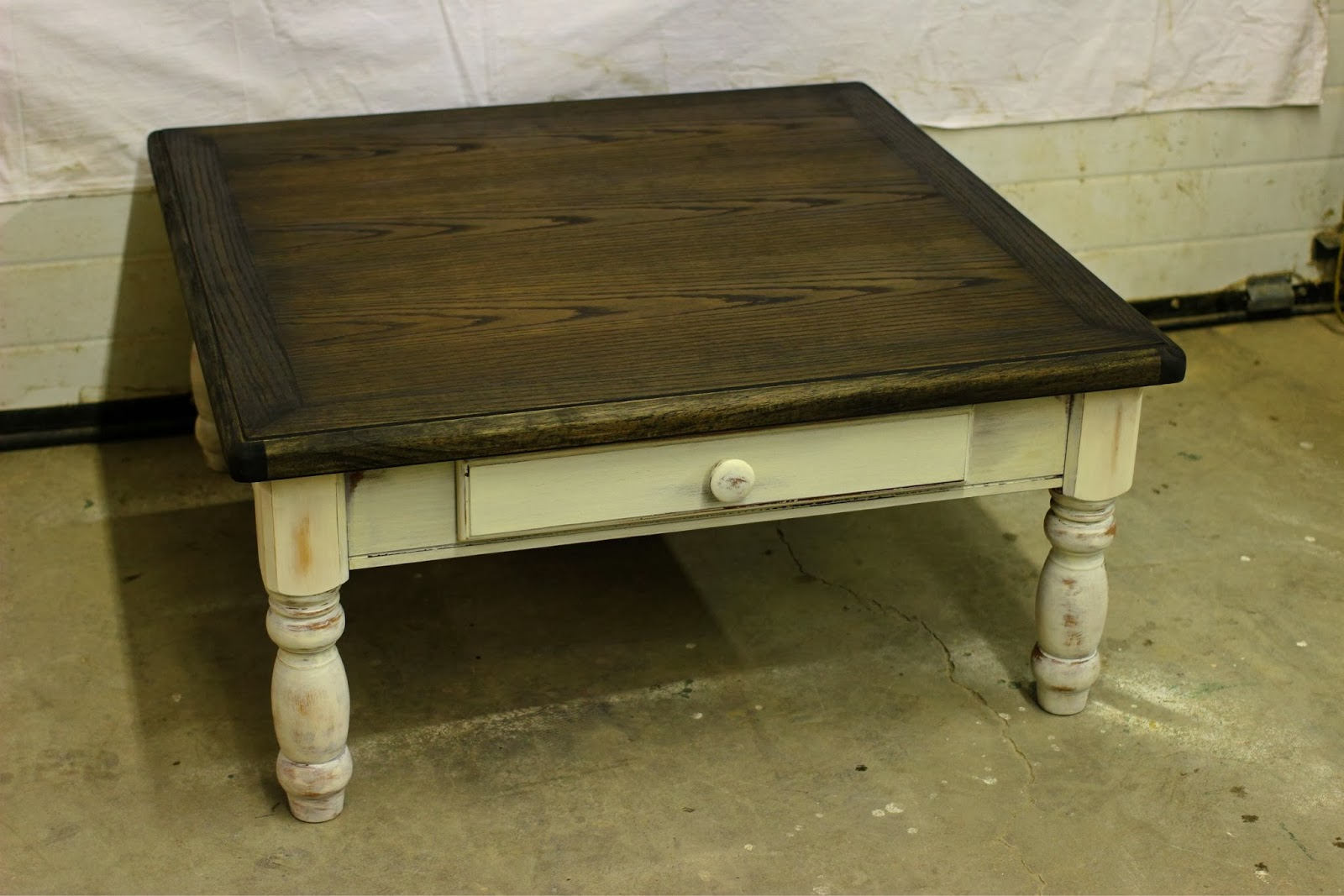 Laurels Attic Square Coffee Table With Stained Top SOLD - How to stain a coffee table