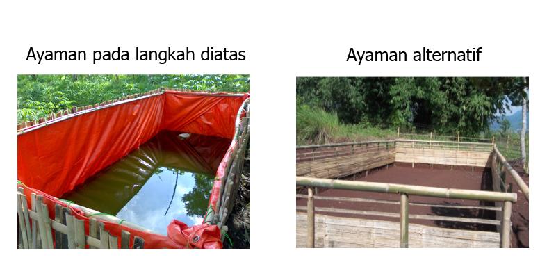 ... bambu sehingga membentuk rangka kolam Siapkan terpal, meliputi langkah