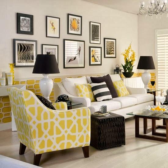 Decoracion en gris y amarillo - Decoracion salon blanco y negro ...