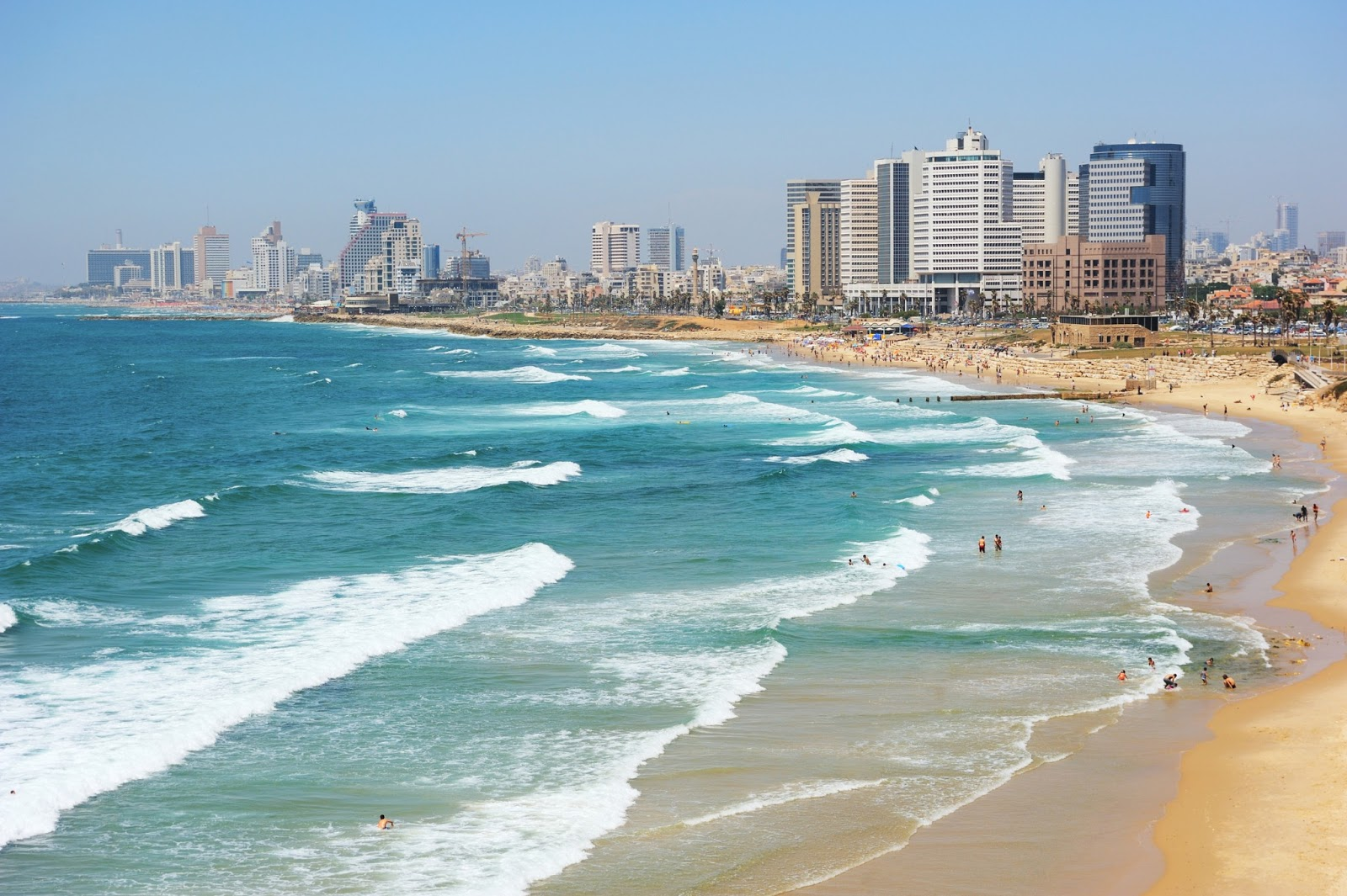 Tel Aviv Israel  city pictures gallery : BANCO DE IMAGENES GRATIS: Vista de la playa y costa en Tel Aviv Israel