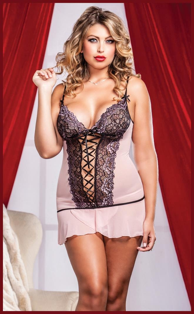 Cross Dye Lace and Flutter Hem Chemise