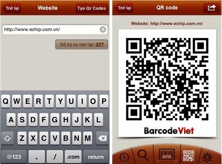 Tạo mã QR trên iOS bằng ứng dụng BarcodeViet