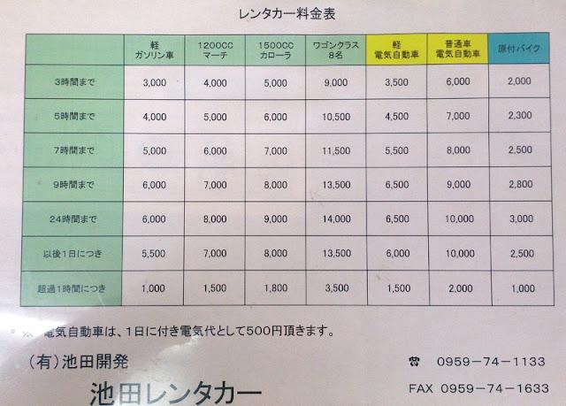 料金表 五島市福江島の池田レンタカー