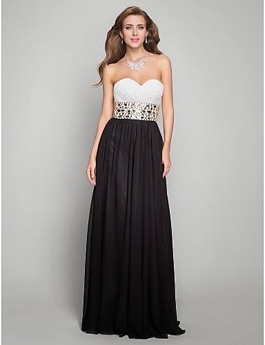 Vestido Largo Gasa dos colores Blanco y Negro