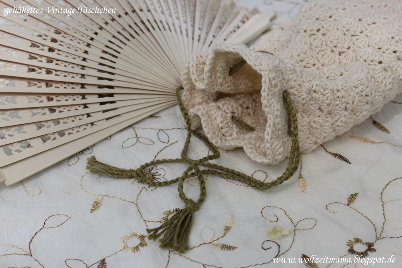 Wollzeitmama: Vintage Täschchen häkeln