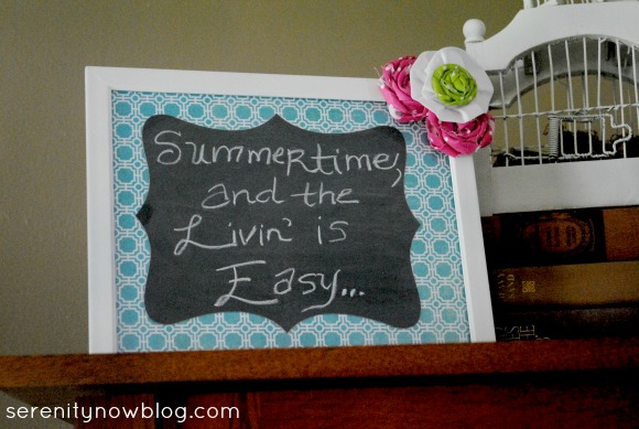 Picture Frame Chalkboard on Summer Mantel, Serenity Now blog