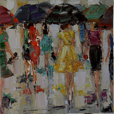 FASHIONISTAS BY KATHRYN MORRIS TROTTER, KATHRYN TROTTER ART, FASHION PAINTINGS BY KATHRYN TROTTER, DANCING IN THE RAIN, RAINY DAY ART, WWW.KATHRYNTROTTERART.COM