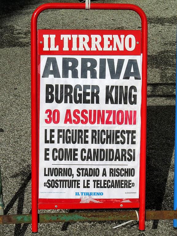 Opening of Burger King, local paper billboard, Livorno