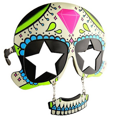 Sugar Skull Day of the Dead Dia de Los Muertos costume party mustache sunglasses