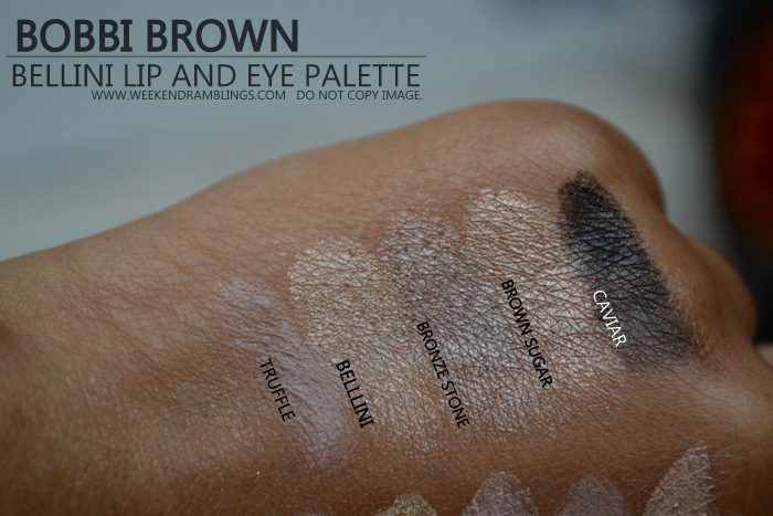 Bobbi Brown Bellini Lipgloss Eyeshadow Palette Holiday 2012 Makeup Gifts Collection Swatches Indian Darker Skin Beauty Blog Truffle Bellini Bronze Stone Brown Sugar Caviar