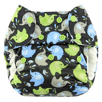 Swaddlebees Blueberry Cloth Diaper Elephant Print Lagoon Baby Canada
