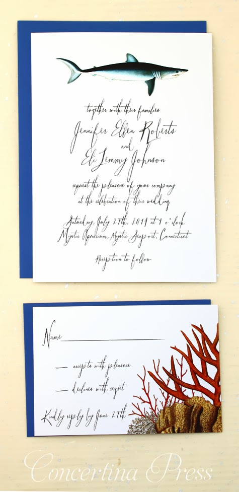 Concertina press stationery and invitations shark for Royal blue and coral wedding invitations