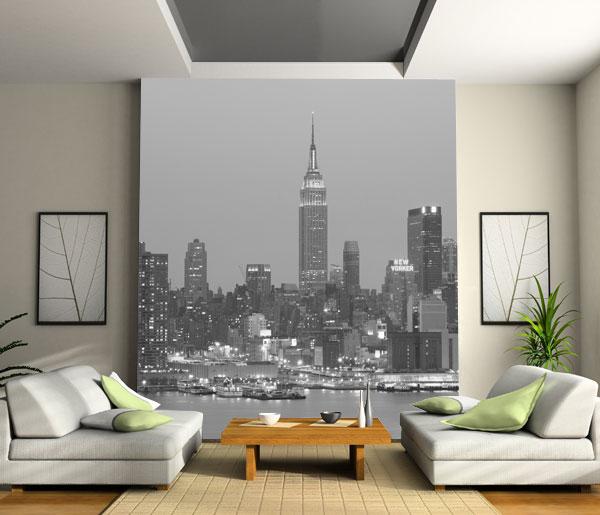 Decorar la pared con un mural papel pintado casas - Papel pintado decoracion paredes ...