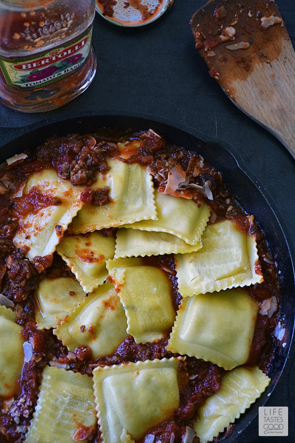Cheesy Baked Ravioli Skillet | by Life Tastes Good | add ravioli