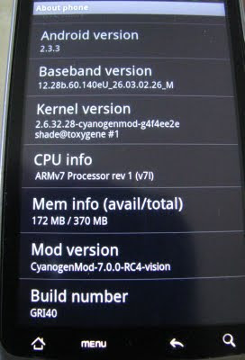 T-Mobile HTC G2 Rooted Android - Cyanogen Mod 7 ROM - Android 2.3 Gingerbread - Software Details