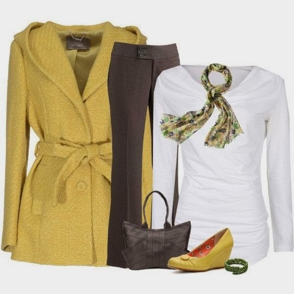 Brown Long Jacket, White Blouse, Pants, Handbag and Yellow Shoes with Accessories,