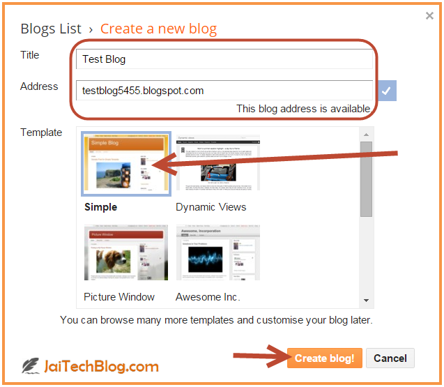how to create a blog using google