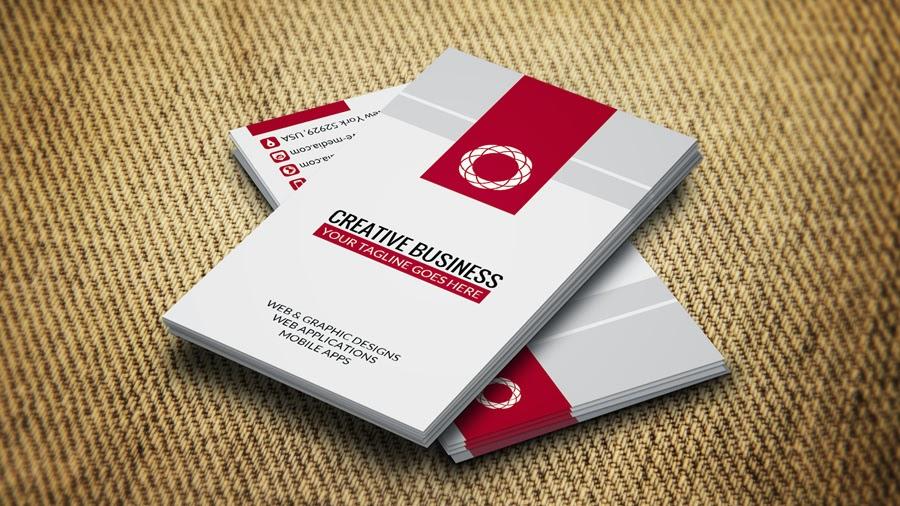 كرت شخصى او بطاقة اعمال باللون (الاحمر فى ابيض) business cards templates Red in White