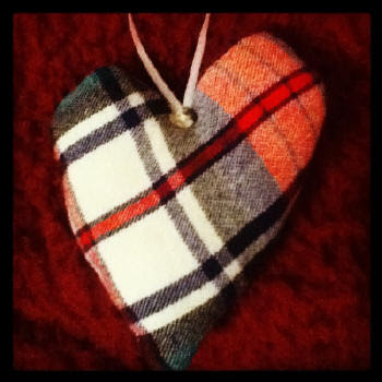 Flannel heart ornaments