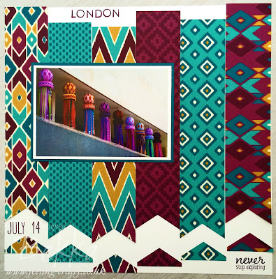 Love London Scrapbook Page featuring New Bohemian Papers from Stampin' Up! UK - get them here from 2 June 2015