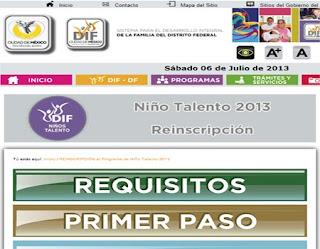 Calendario Re-Inscripciones Formato Niños Talento DIF 2013