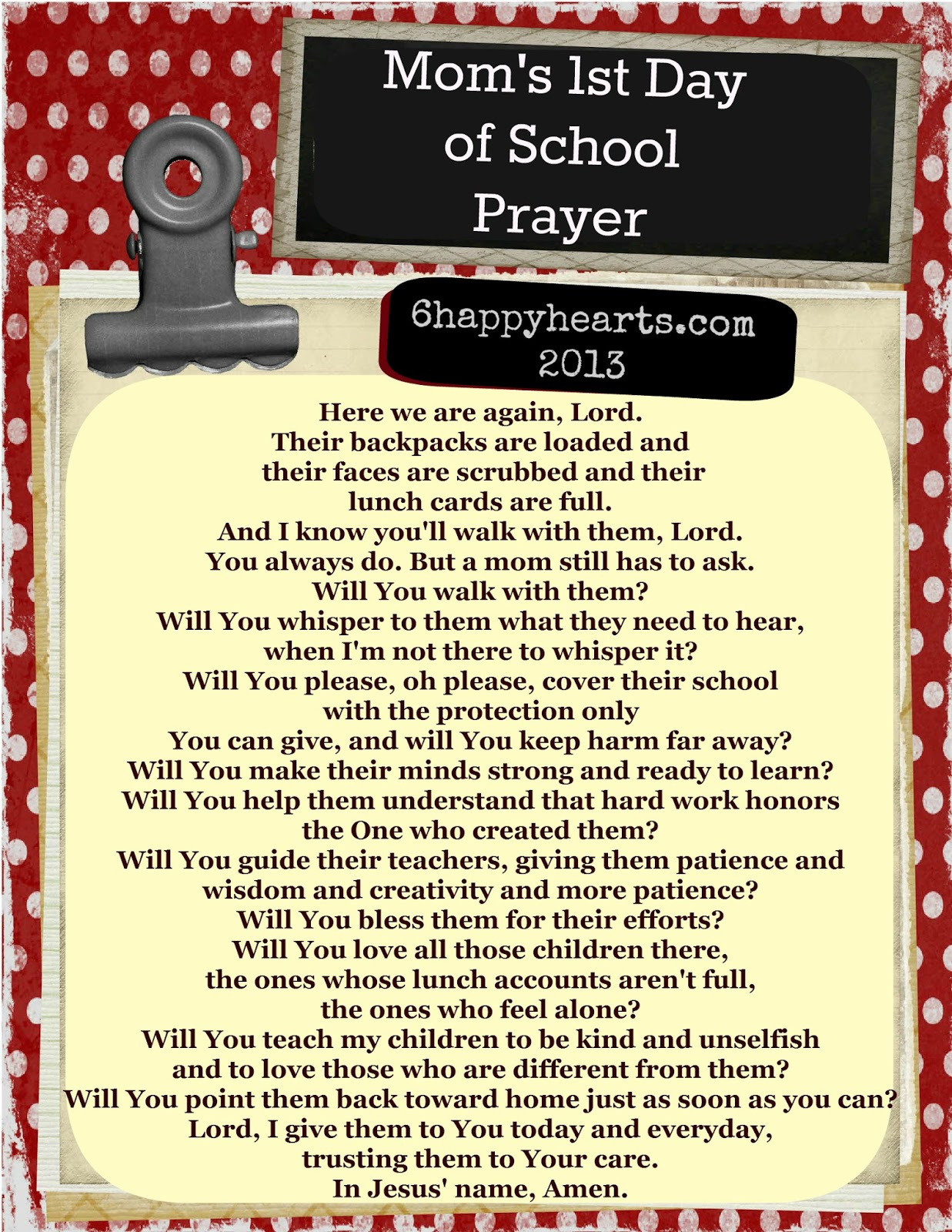 Prayer for the First Day of School