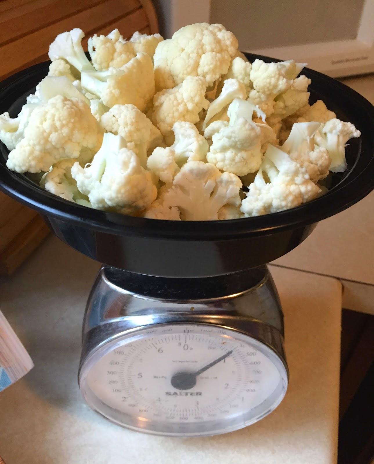 Cauliflower on a Kitchen Scale
