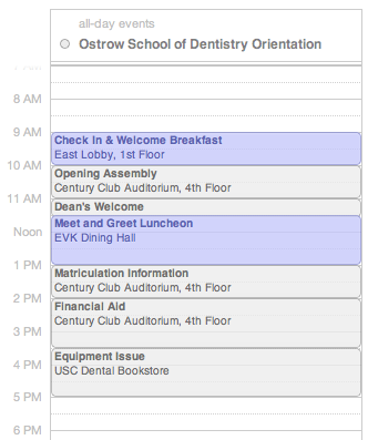 USC Ostrow School of Dentistry Orientation Schedule