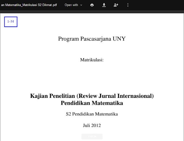 Kajian Penelitian (Review Jurnal Internasional)   Pendidikan Matematika