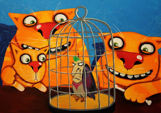 Cats and little kitten are looking at their pet–bird in cage, drawings, funny pictures, comics