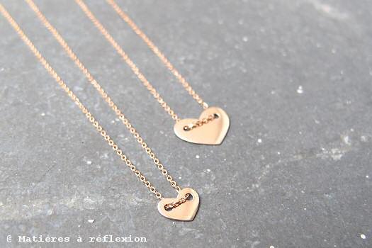 Vanrycke Collier Coeur et Mini Coeur or rose