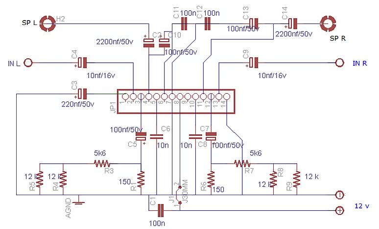 Skematic Power Amplifier IC LA 4508 ini saya gambar sendiri dengan Software Eagle khusus untuk designe PCB