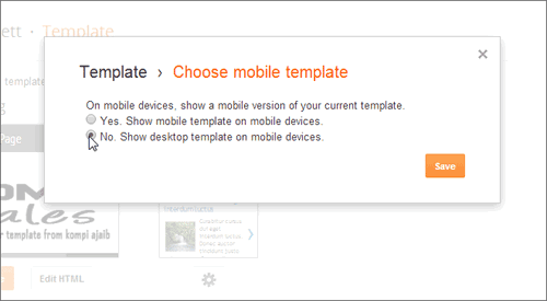 Setting Nonaktif Mobile Template Blogger