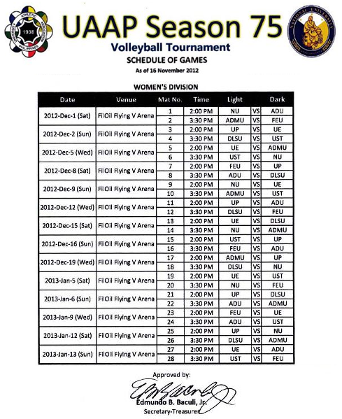 UAAP Season 75 Women's Volleyball Games Schedule