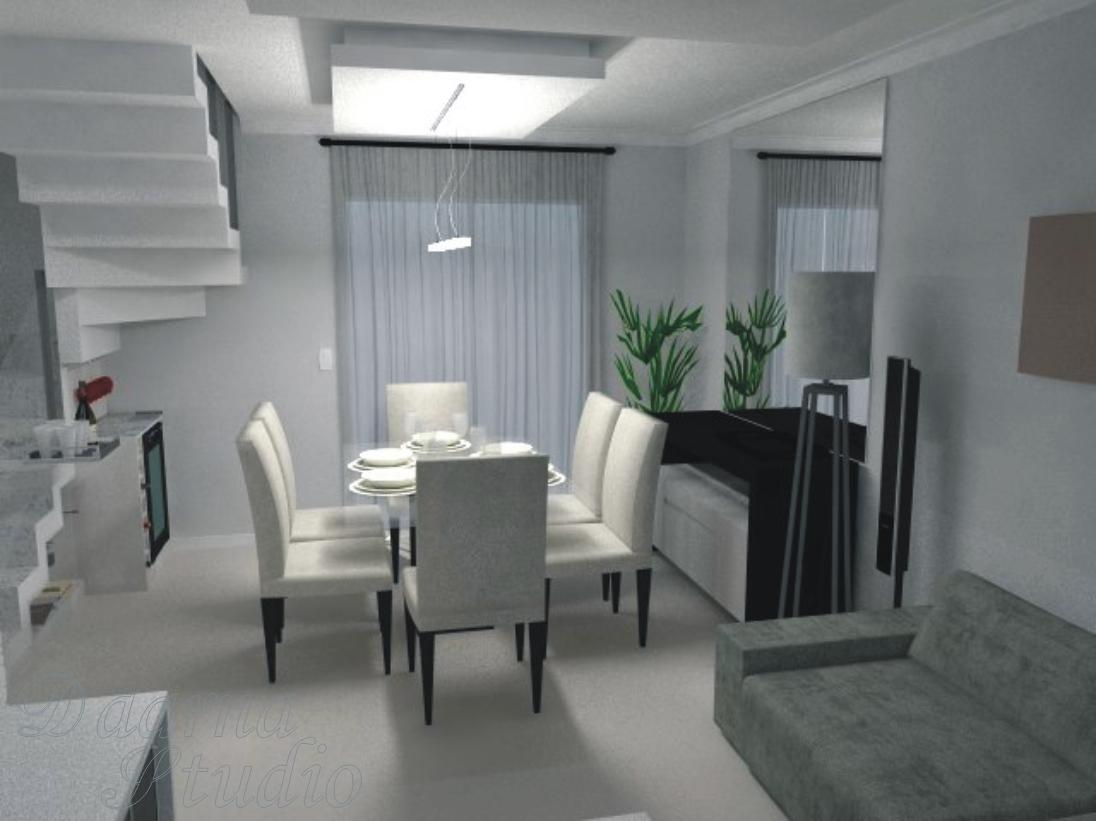 Sala De Estar E Jantar Cinza ~  Arquitetura & Interiores Projeto de Interiores  Sala de EstarJantar